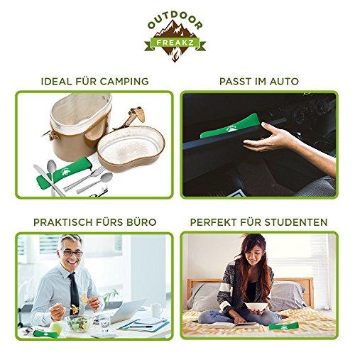 OUTDOOR FREAKZ Outdoor Reisebesteck und Campingbesteck aus Edelstahl mit Neoprenhülle (4er Set ++) - 6