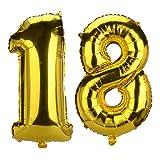 Jerollin - Ballon d'anniversaire en aluminium avec le nombre « 18 », mylar, luxe, parfait pour décorations de fête d'anniversaire pour les 18ans 32 Inches Oro 18