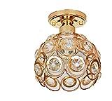 WLM Goldene Kristalllampe, Ganglampe, europäische Hallenlampe, LED-Deckenlampe, Amerikanische Deckenlampe, schmiedeeiserne Lampe,Weißes Licht,1 Kopf
