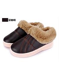 LaxBa Frauen Männer Winter warm Plüsch Hausschuhe Indoor Anti-Slip Cotton-Padded Slipper Schuhe schwarz 44-45 (für 43-44 Yards) s4BKQf