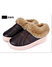 LaxBa Frauen Männer Winter warm Plüsch Hausschuhe Indoor Anti-Slip Cotton-Padded Slipper Schuhe schwarz 44-45 (für 43-44 Yards)