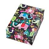 Geschenkpapier Rolle 50 cm x 50 m, Motiv Hello, witzige Elefanten in glänzend-kräftigen Farben auf matt-schwarzem Fond. Für Kinder, Geburtstag.