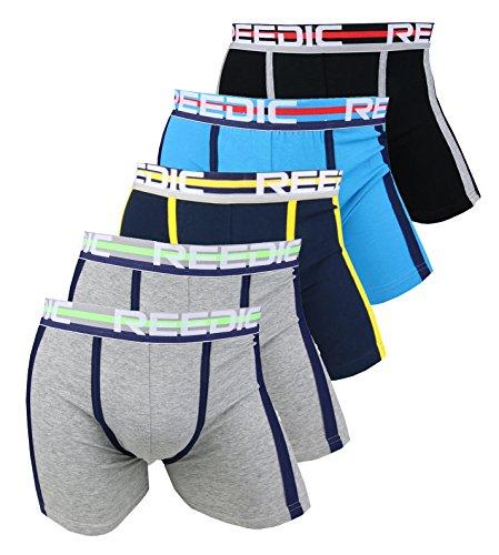 Reedic Herren Boxershorts Baumwolle 5er Pack, Größe X-Large (XL), Farbe je 2X grau, je 1x schwarz, dunkelblau, türkis (Gap Baumwoll-boxer)