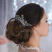 Jovono pettine capelli sposa Headpieces testa accessori con perline e  foglia per le donne fe7400f7b314