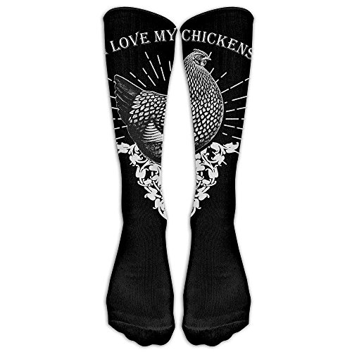 (Bag shrots Knee High Stockings Unisex Knee High Long Socks I Love My Running Chickens Cosplay High Long Stockings)