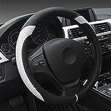 XuanMax Universal Funda Cubierta del Volante PU Cuero Respirable Antideslizante Vehiculo Auto Coche PU Leather Steering Wheel Cover 38cm - Blanco