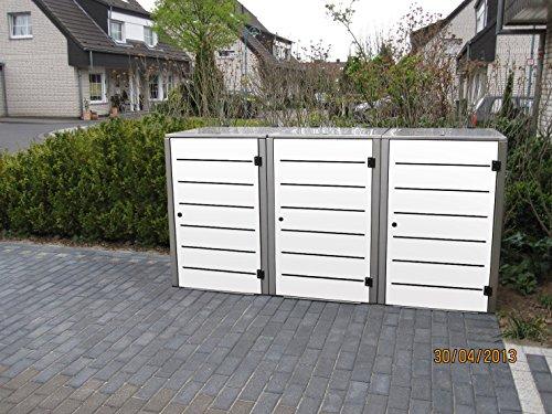 Mülltonnenbox Edelstahl, Modell Eleganza Line 240 Liter als Dreierbox in Weiss - 4