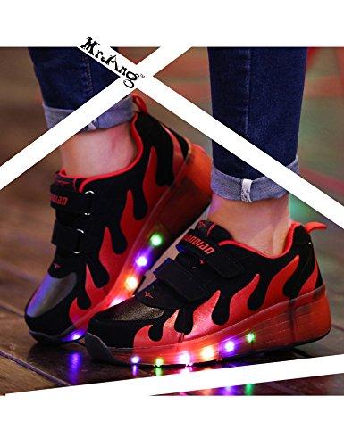 Mr.Ang Skateboard Schuhe Flügel-Art Rollen Verstellbare Schlittschuhe neutral Rollschuh Schuhe mit LED 7 Farbe Farbwechsel Lichter blinken Skateboard Lnline Sneaker Einzelnes Rad Schuljunge Mädchen Schwarz-Rot