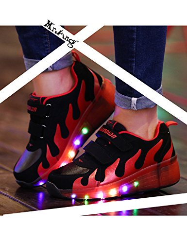 Mr.Ang Mit LED Lichter blinken Skateboard Schuhe Flügel-Art RollenRäder Schuhe Unisex Skateboard Lnline Sneaker Einzelnes Rad Jungen Mädchen Kinder Wanderschuhe neutral Kuli Rollschuh Schuhe Schwarz-Rot