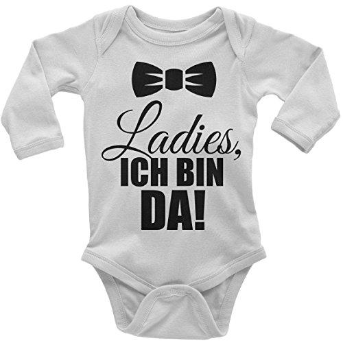 Mikalino Babybody Ladies, Ich Bin da! Langarm, Farbe:Weiss;Grösse:56