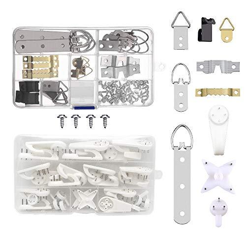 BITEYI 105 Stück Bilderrahmen Hängehaken Kit 7 Modelle Bilderhaken Bilderhalte mit Schrauben und 28 Pack Non-Trace Hardwall Trockenbau Bild Aufhänger Haken -