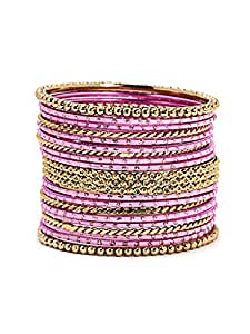 Bindhani Traditional Wedding Light Pink Chura Or Chuda Bracelet Bangle Set For Women(2.10)