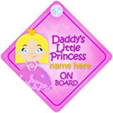 Daddy's Little Princess On Board Personalised Car Sign New Baby Girl / Child Gift / Present DLP016