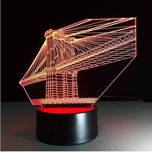 7 farbe brücke lampe 3d visuelle led nachtlichter für kinder touch usb tischlampe lampe baby schlaf nachtlicht sensor lampe