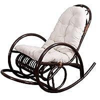 Rocking-chair fauteuil à bascule Derby, bois marron, avec coussin