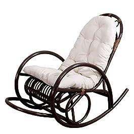 Mendler Rocking-Chair Fauteuil à Bascule HWC-C40, Bois Marron, avec Coussin