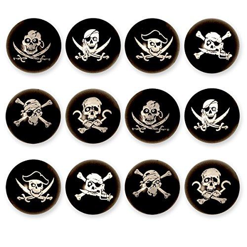 12X Piraten Flummis / für Kinder-Geburtstag Jungen und Mädchen / Mitgebsel / Kindergeburtstag Gastgeschenke / Gummiball / Springball / Piraten Party Flummi Set