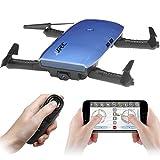 JJR/C H47 Faltbare Selfie Drohne Kamera, RC Drohne mit Live Übertragung WIFI FPV Handy APP-Steuerung G-Sensor Steuerung, automatische Schwebe 3D Flip Stunt Headless Modus, geeignet für alle Stufen-Piloten, 720P HD Kamera, mit Transport Case, Schwarz/Blau