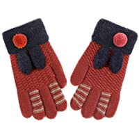 Wangcui Kinder Kinder Teenager Jungen Mädchen warme gemütliche Winter Gestrickte Handschuhe (Farbe : C)