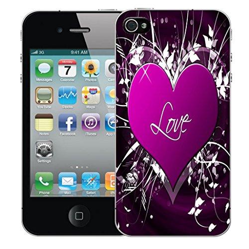 Nouveau iPhone 4s clip on Dur Coque couverture case cover Pare-chocs - noir sagittarius Motif avec Stylet purple love embrace