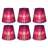DULEE 6 PC transparente Kerze-Kronleuchter-Lampenschirm-Wand-Lampen-hängende Lampen-Schatten, 9 * 14 * 13cm purpurrot mit Mesonen