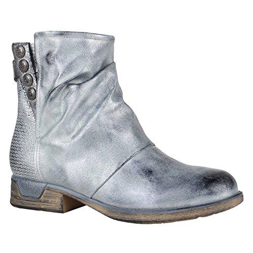 Damen Biker Boots Zipper Stiefeletten Schnallen Lederimitat Schuhe 148782 Silber Glanz 39 | Flandell®