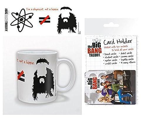Set: The Big Bang Theory, Je Suis Physicien Pas Hippie, Équasion Tasse À Café Mug (9x8 cm) Et 1 The Big Bang Theory, Porte-Carte Bancaire Pour Fans (10x7 cm)