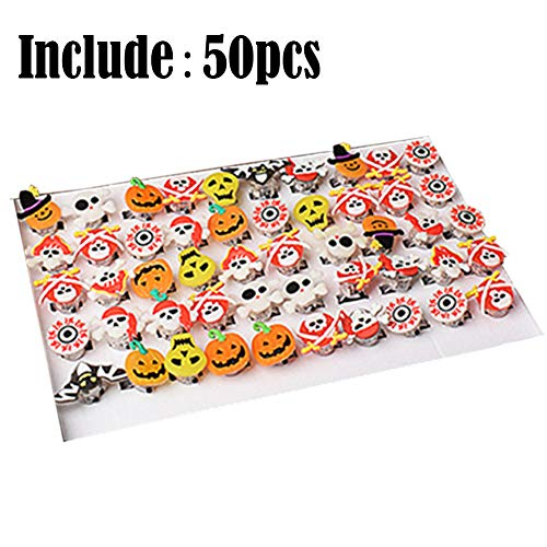(DiiZii 50 Stück Halloween Light up Rings LED Finger Licht Spielzeug Partyzubehör Beleuchtung für Kinder und Erwachsene -Piratenringe aus Gummi | Schädel und Crossbone)