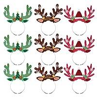 Amosfun Reindeer Antlers Headband Headwear Christmas Headband Hair Bands for Christmas Holiday Party Favors Supplies Decorations 9PCS