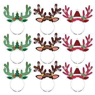 Amosfun Diadema de astas de Reno de Navidad Diadema Fiesta de Navidad Vestir aro de Pelo con Orejas Accesorios para el Cabello de Navidad Sombreros de Fiesta de asta de Reno para Navidad 9pcs