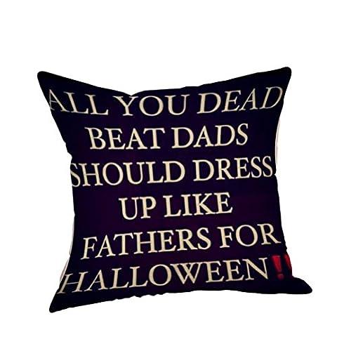 Housse de Coussin Halloween, Internet canapé lit Home Café Decor taie d'oreiller Carré Lin Invisible fermeture à glissière 45cm*45cm (W)