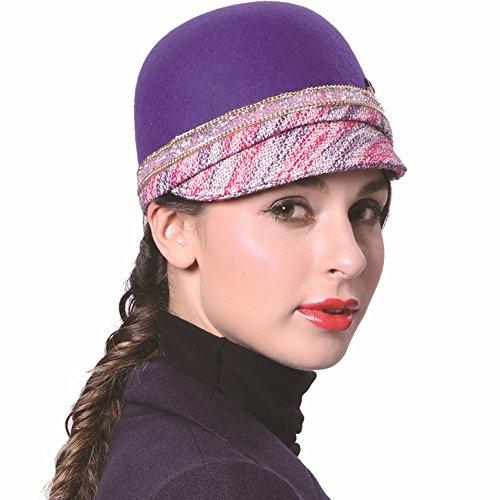 June's Young Casquette Femmes Elégante Haut de Forme Bonnet Respirant Indéformable Chapeau Décontracté Capeline Chapeau:Bleu Clair