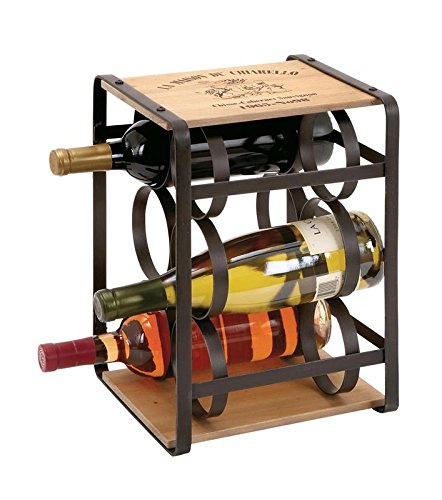 Jar-küche Dekor (Deco 79Metall Holz Wein Halter, 10von 33cm)