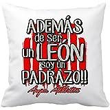 Cojín con relleno Athletic Club de Bilbao además de ser un León soy un padrazo - Blanco, 35 x 35 cm