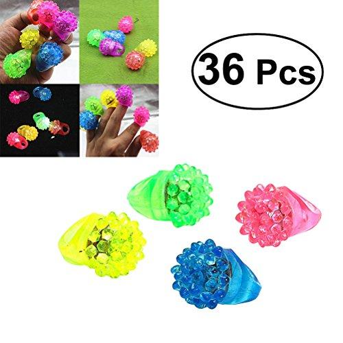 NUOLUX Blinkende Led Bumpy Gummi Ringe, Jelly Blase Leuchten Finger Spielzeug, 36 Pcs