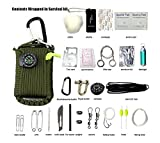 ZENDY 23 in 1 / Paracord Seil Multi-Funktions-Outdoor-Survival-Kit (7 Strang Kabel) (Grün)