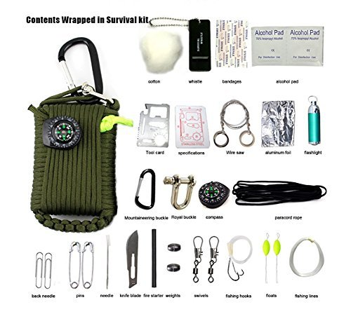 ZENDY 23 en 1 / Paracord corde multi fonction kit de survie en plein air (7 brins cordon) (Vert)