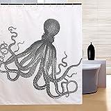 RISHIL WORLD 150x180cm Waterproof Halloween Octopus Polyester Shower Curtain Bathroom Decor with 12 Hooks Single Item.