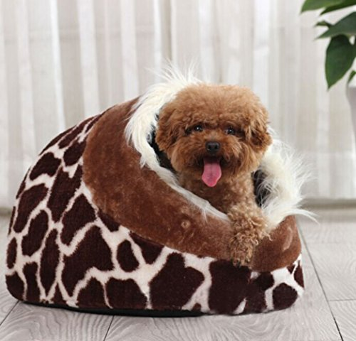 LA VIE Hunde-Haus Süßes Hunde-Höhle mit Kuscheligem Plüsch Stoff Reisebett Weiche Cat Nistkasten Bett Abnehmbar Waschbar Katzenhöhle für Kleiner Hunde Katzen Leopard