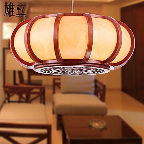 MSUXT Iluminación colgante Lámparas de madera clásico chino moderno vitela de iluminación creativa antigüedades Entrada luz apague las luces en Yuen Restaurante luz lámparas retro