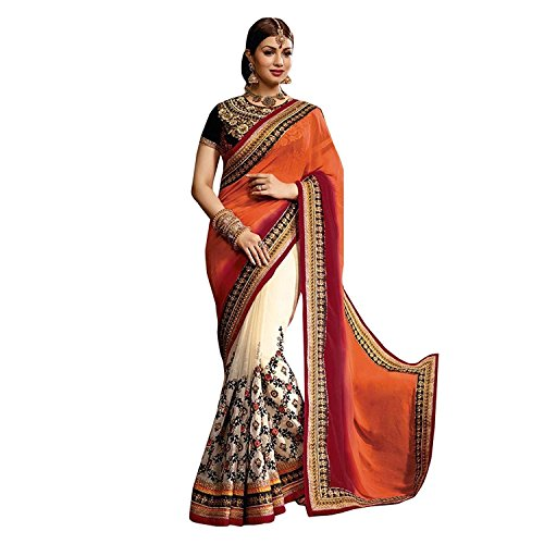 Beautiful Printed sarees with Blouse ( Women's Clothing Saree Latest Designe and workwear Ceremony Sari New Collection Multi Coloured Art silk Material Half Saree Lehenga Sadi for Autumn-Winter