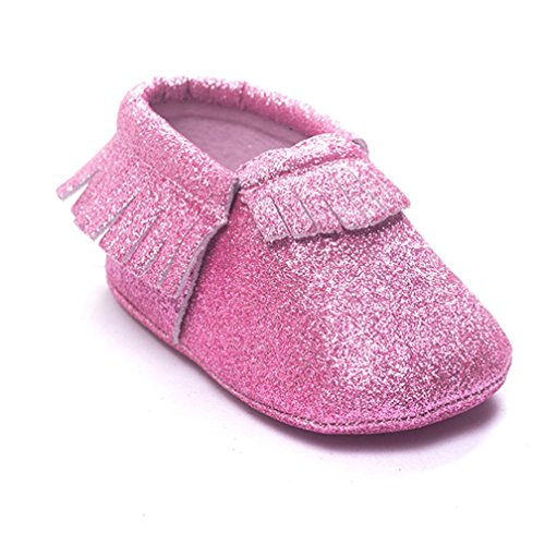 Baby schuhe Jamicy® Baby Lederschuhe Sneaker Anti Rutsch weiche Sohle Kleinkind (0 ~ 4 Monat, Silber) Rosa