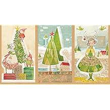 Tela de la Navidad–60cm–PANEL árboles de Navidad, ciervos, Santa–BLE101–tela de la Navidad por mezcla–100% algodón