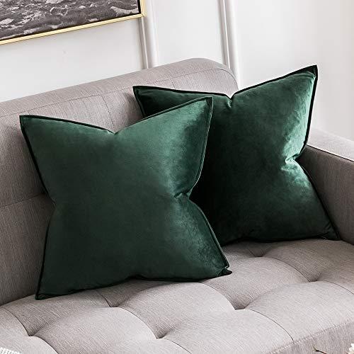 MIULEE 2er Set Samt Kissenbezug Kissenhülle Dekorative Dekokissen mit Verstecktem Reißverschluss Sofa Schlafzimmer Auto 18x 18 Inch 45 x 45 cm 2er Set Dunkelgrün - Kissen Schlafzimmer-dekorative