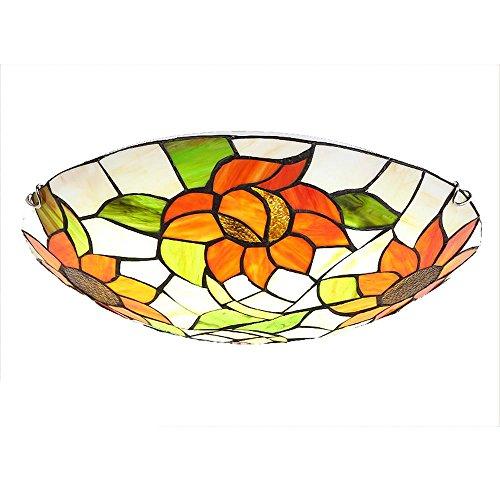 Deckenleuchte Glasmalerei (OOFAY Lichter Retro Blumen Tiffany Stil Glasmalerei Runde Deckenleuchten 30 cm 40 cm 50 cm E27 3 Glühbirnen Malerei Innendekoration wohnzimmer esszimmer Schlafzimmer Lichter , 50CM)