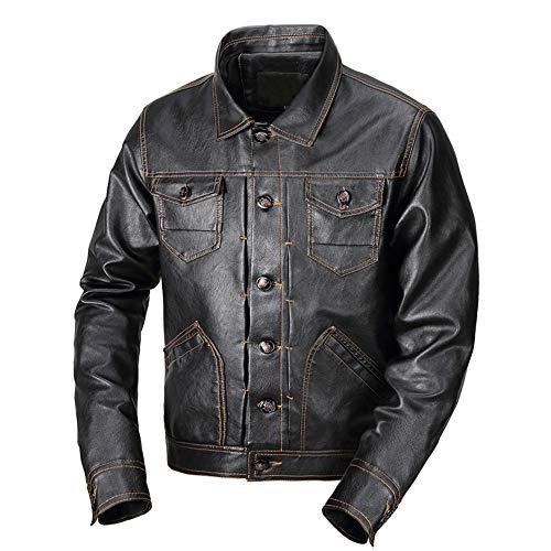 TWBB Men's New Slim Fit Jacket Herren Winter Winddicht Wasserdicht Militär PU Leder Jacke Draussen Freizeit Warm Dick Faux Kaschmir Futter Parka Mantel