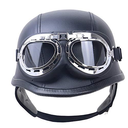 QXFJ Open Face Helm Jethelm Mopedhelm Motorradhelm ABS Helm Leicht Atmungsaktiv Flanellfutter Schnelle Und Einfache Schnalle Helm AußEnrinde Tragbarer Helm DOT-Zertifiziert Unisex