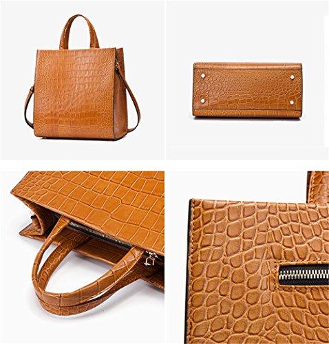 Sacs à main pour femme Xinmaoyuan Printemps sac à main en cuir crocodile Simple Bétail Modèle Tote Bag yellow