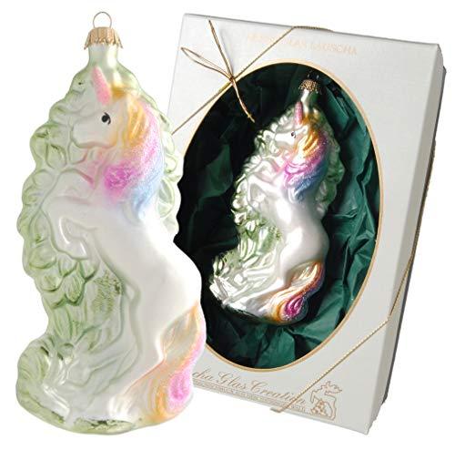 Krebs Glas Lauscha - Einhorn Christbaumschmuck - Mit farbenfroher Mähne und Schweif - Made in Germany