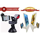 Unique Gadget Buy Combo Offer! Fly Mobile Stand Car Holder FLYMST002 + 3D Phone Magnifier - CMFL3PM